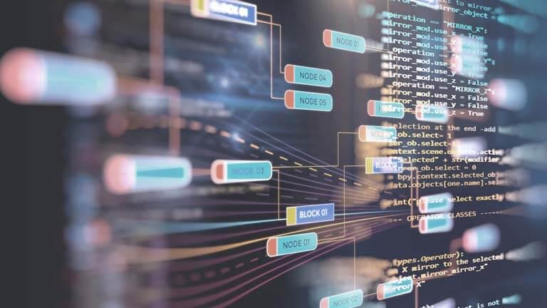 Abstrakte Big-Data-Visualisierung mit zahlreichen miteinander verbundenen Datenknoten